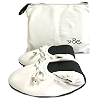 Shoes8teen Womens Foldable Ballerina Ballet Flats W/Bow 15 Colors (Small 5/6, White 1180)