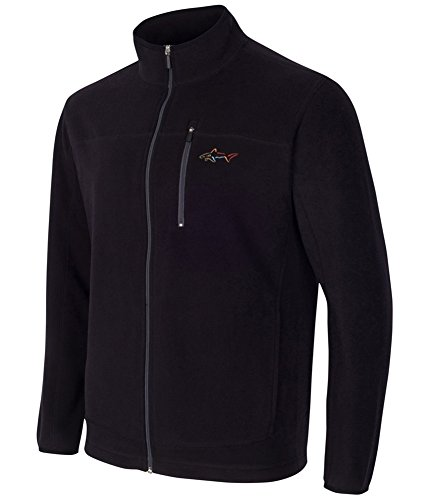 Greg Norman Mens 5 Iron Fleece Jacket, Black, 2XLT
