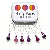 Purple Bead Snag Free Stitch Markers Jewelry for Knitting (Set of 6 with Tin)