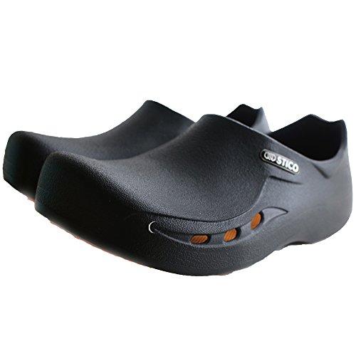 STICO Mens Chef Kitchen Slip Resistant Safety Shoes - Work Clog, Muel for Restaurant, Hospital, Nursing, Garden - 4 Colors (Black, White, Wine, Gray), US Size (7-10)