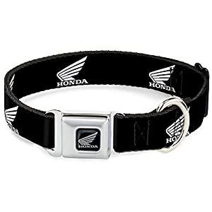 "Buckle Down Seatbelt Buckle Dog Collar - HONDA Motorcycle Logo Black/White - 1.5"" Wide - Fits 16-23"" Neck - Medium"