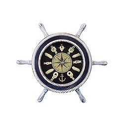 Hampton Nautical Wheel-Clock-106 White and Blue Ship Wheel 12-Decorative Clocks-Nautical Home
