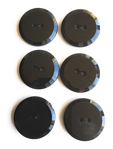 Antique Black Jet - Jet Black Glass Tailored Facated Buttons SET 1-1/16