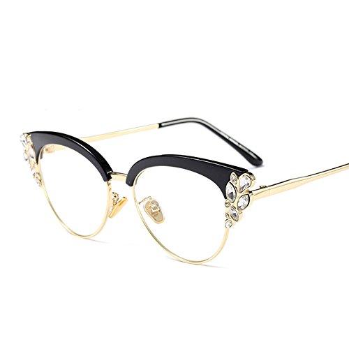 Women Cat Eye Rhinestone Glasses Metal Frame Luxury Eyeglasses Female Fashion