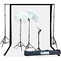 Fancierstudio 1000watt Lighting Kit Black White Muslin Backdrop and background stand kit By Fancierstudio K105BW