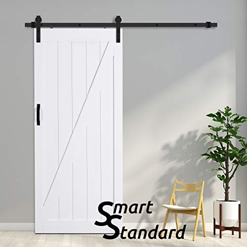 Prefinished Wood Doors - SMARTSTANDARD 36in x 84in Sliding Barn Door with 6.6ft BarnDoor Hardware Kit & Handle, Pre-Drilled Ready to Assemble Wood Slab Covered with Water-Proof PVC Surface (White Z-Frame Panel),