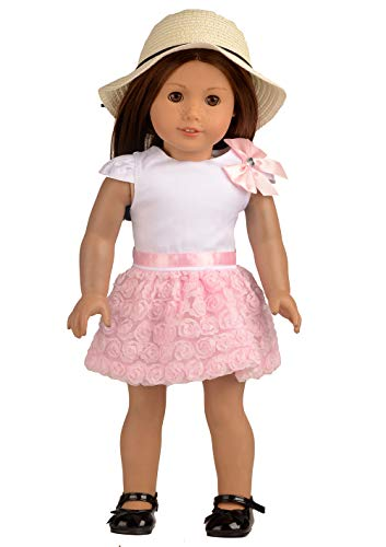 sweet dolly Doll Clothes Pink Floral Dress & Doll Hat fits 18 Inch American Girl Dolls