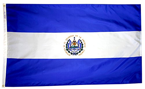 Annin Flagmakers Model 192401 El Salvador Flag 3x5 ft. Nylon SolarGuard Nyl-Glo 100% Made in USA to Official United Nations Design Specifications.
