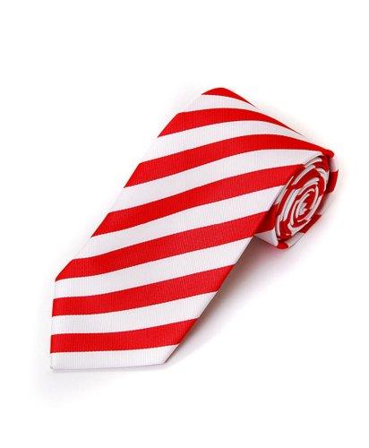 White & Red School College Tie Woven Stripe Tie , 63
