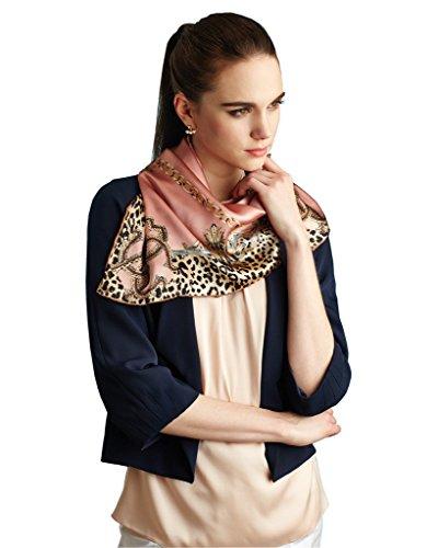 Nita Jinsanta 100% Natural Mulberry Silk Scarf Elegant Leopard Chain Pink 34