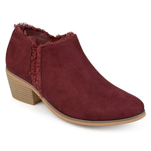 Journee Collection Womens Fringe Faux Suede Ankle Booties Wine 0r56NLd