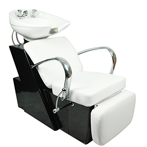 (BarberPub Backwash Ceramic Shampoo Bowl Sink Chair Station Salon Beauty Bowls 0648 (White))