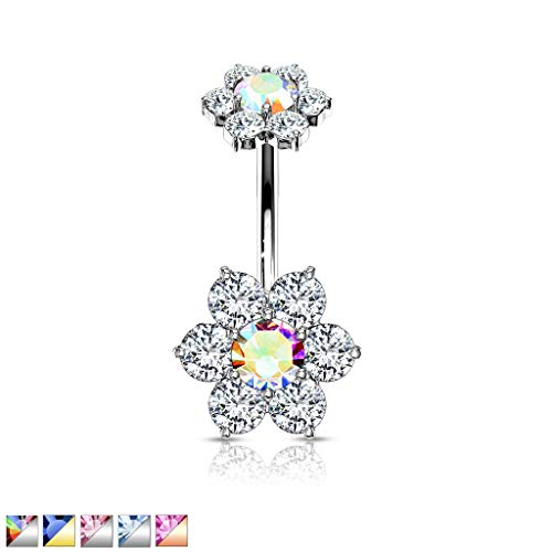 Inspiration Dezigns 7 CZ Flower with Internally Threaded CZ Flower Top 316L Surgical Steel Belly Button Navel Rings (Clear/Aurora ()