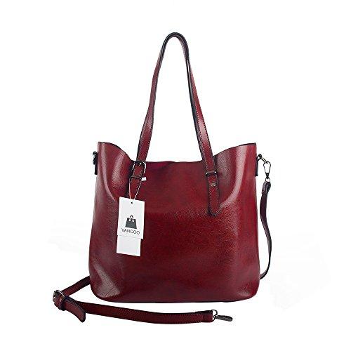 VANCOO Donne Tote Borse Donna Borse in Pelle Tote Bag Faux 1108 Rosso