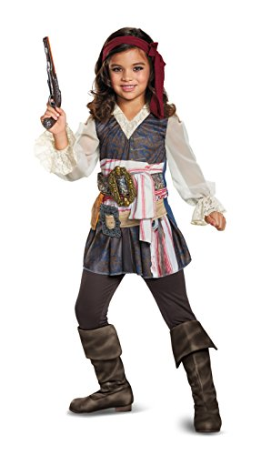Jack Sparrow Costume Amazon - Disney POTC5 Captain Jack Sparrow Girl Classic Costume,  Multicolor,  Large (10-12)