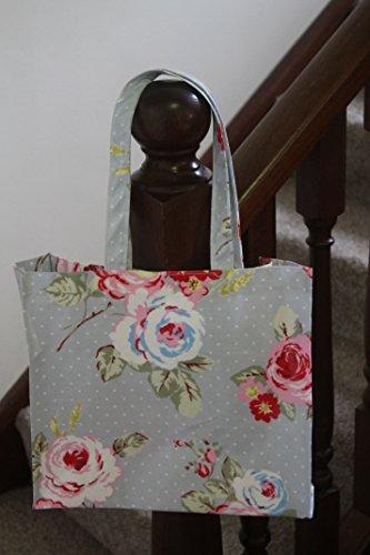 Pretty Floral Oil Cloth RoseR-Borsa per la spesa, colore: blu
