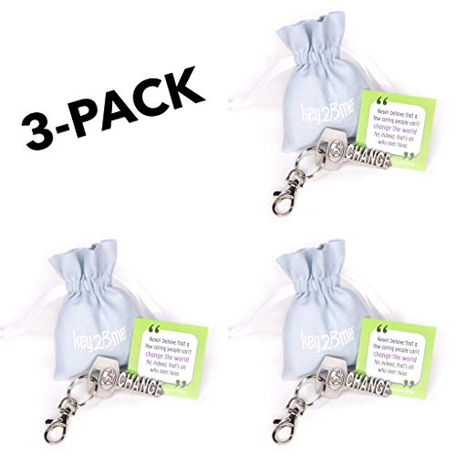 3-Pack key2Bme Change The World Key - World Globe Keychain & Inspirational Quote - The Cute Cool Fun Unique Small Volunteer Appreciation Thank You Gift Under $10 for Giving Teen Friends Women Teacher -