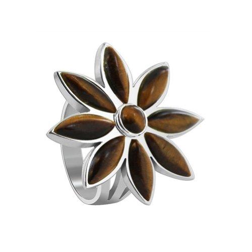 (Gem Avenue 925 Sterling Silver Brown Tiger eye Floral Design Ring Size 8.5 with Gemstone)