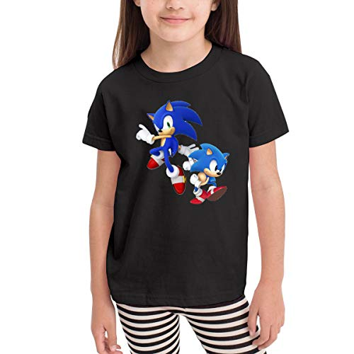 Re-emerwm Children's Boy's&Girl's Sonic Hedgehog Leisure Children's T-Shirt 4T Black -