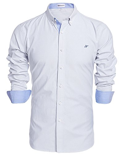 HOTOUCH Mens Casual Dress Shirts Slim Fit Shirt White S