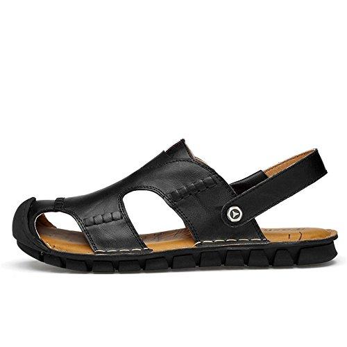 2 Brown adatti all'aperto sandali da spiaggia al tempo uomo e Size regolabili Color 3 antiscivolo in sandali il la libero per per Sandali traspiranti EU 40 coperto Black pelle Bn7dWR47qw