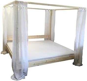 LIEGEWERK Himmelbett Bett Holz massiv Holzbett mit Vorhängen 90 100 ...