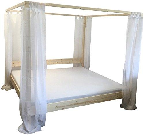 Himmelbett Bett Holz massiv, 90 100 120 140 160 180 200 x 200cm mit Vorhängen, Hergestellt in BRD, Holzbett (140cm x 200cm)