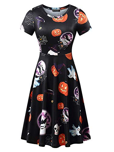 FENSACE Womens Short Sleeves A-line Halloween Mummy Costume]()