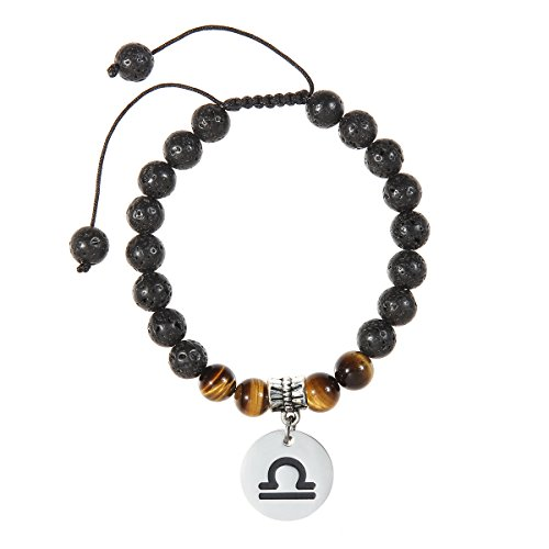Zodiac Libra (Meibai Handmade 8mm Lava Rock Tiger Eye Natural Stone Beads Bracelet with Constellation Zodiac Sign Charm Adjustable Size (Libra))