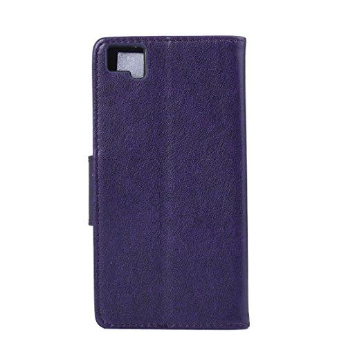Funda BQ M5.0, 5.0 pulgadas, Cáscara Alfort 2 en 1 Caso Protector de Cuero Retro Moda PU Repujado Mariposas y Flores Cover con Soporte Plegable y Ranura de Tarjeta + Toque Pluma ( Azul ) Púrpura