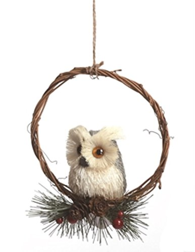 6 Inch Wreath with Perched Owl Christmas Tree Ornament or...