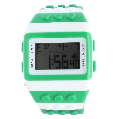 TODDCAHALAN Shhors New Sport Led Digital Brick Block Binary Watch lcd wristband Green White by TODDCAHALAN