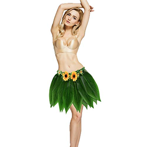 Ti Leaf Hula Skirt Hawaiian Leaf Skirt Green Grass Skirt with Artificial Hibiscus Flowers for Beach,Luau Party Supplies (Short Camellia+Sunflower(27in Waist), 27in waist15in Length)