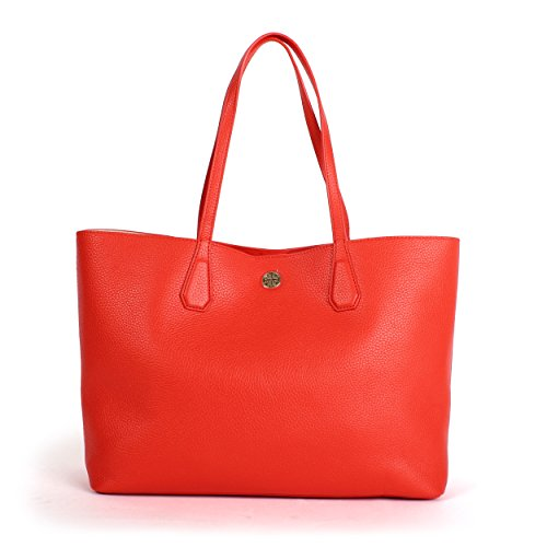 Tory Burch Pebbled Leather Perry Tote, Poppy Red/Pale Apricot, Style No. 41135 by Tory Burch