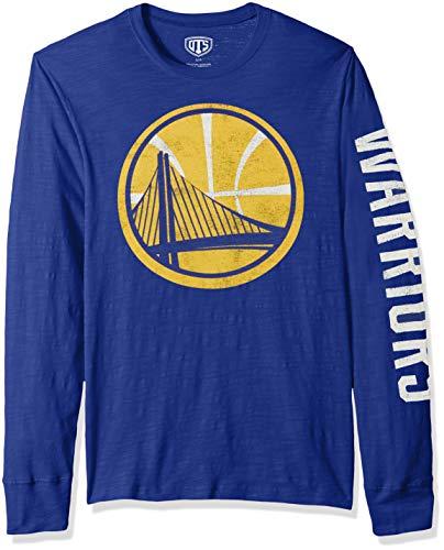Golden Long Sleeve - OTS NBA Golden State Warriors Male Slub Long Sleeve Team Name Tee Distressed, Royal, Small