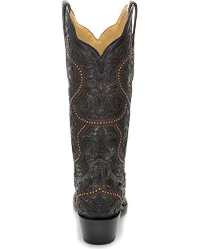 Corral Womens Fulla Overlay Och Nitar Cowgirl Boot Klipp Tå - G1310 Svart