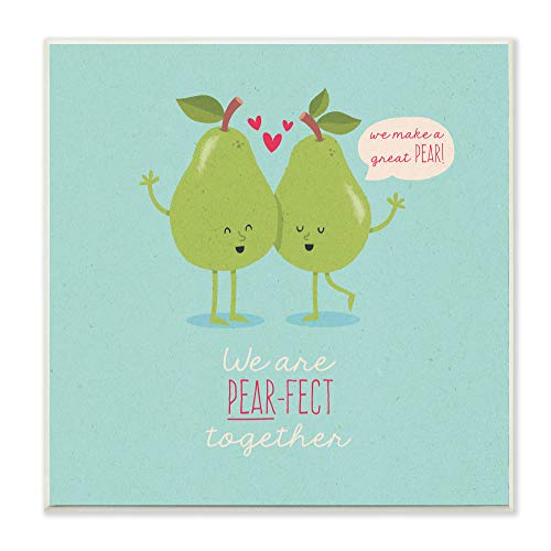The Stupell Home Decor Cheeky PEAR-FECT Perfect Together Digital Illustration Wall Plaque Art 12X12 Multi-Color