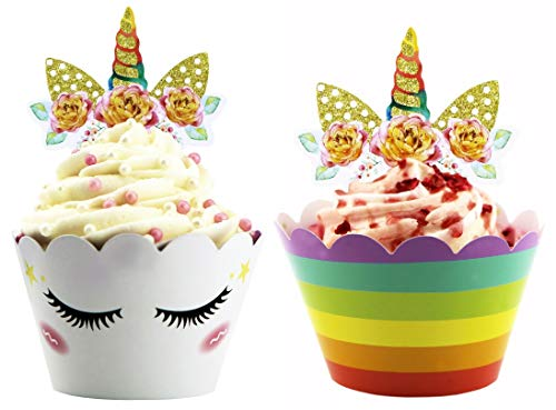 Yippee! Unicorn Cupcake Toppers & Wrappers Double Sided for Kids Party, Girls Unicorn-Themed Birthday, Baby Shower & More – DIY Non-Toxic Ink Cup Cake Birthday Party Supplies - Set of -