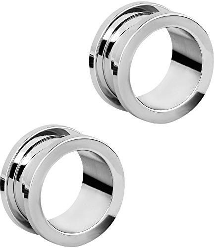 Set of 5/8 Inch Surgical Steel Ear Gauges Screw Fit Tunnels, 16mm Tunnel Plug Earrings