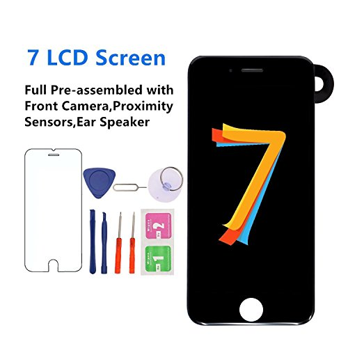 Screen Replacement for iPhone 7 [Black] 4.7 inch Full Assembly - MAFIX 3D Touch LCD Display Screen with Proximity Sensor, Earspeaker and Front Camera, Repair Tools and Screen Protector