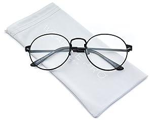 WearMe Pro - Retro Clear Circle Round Metal Sunglasses