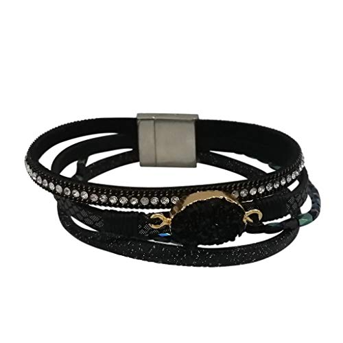 TOOPOOT Bracelets  Multi-Layer Leather Bracelet - Braided Wrap Cuff Bangle with Alloy Magnetic Black