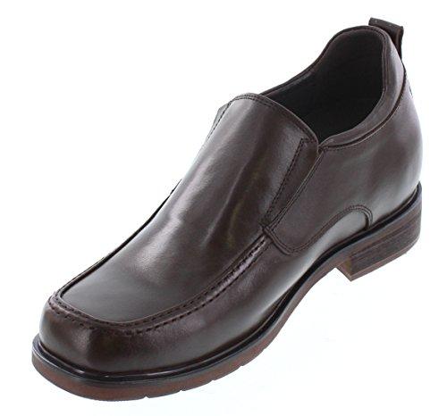 Calto T52734-3.2 Pollici Taller - Scarpe Rialzanti Per Altezza - Scarpe Eleganti In Pelle Marrone Scuro