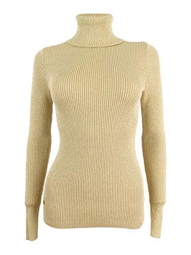 Cotton Metallic Sweater - Lauren Ralph Lauren Womens Metallic Knit Turtleneck Sweater Gold L