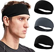 Men Sport Headband - Sweat Band for Men Grip Strip Stretchy Hair Bands Headwear for Running Cycling Hot Yoga a