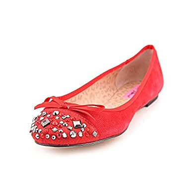 Betsey Johnson Womens 'Necii' Flat Shoe, Red Suede, US 6