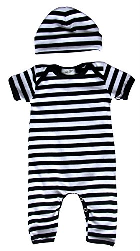 (Baby Romper with Matching Hat (6-12 Months (Medium), Black and White Stripes))