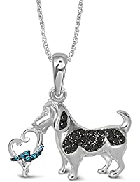 "<span class=""a-offscreen"">[Sponsored]</span>Silver 1/8 ct Blue and Black Diamond Dog Pendant"