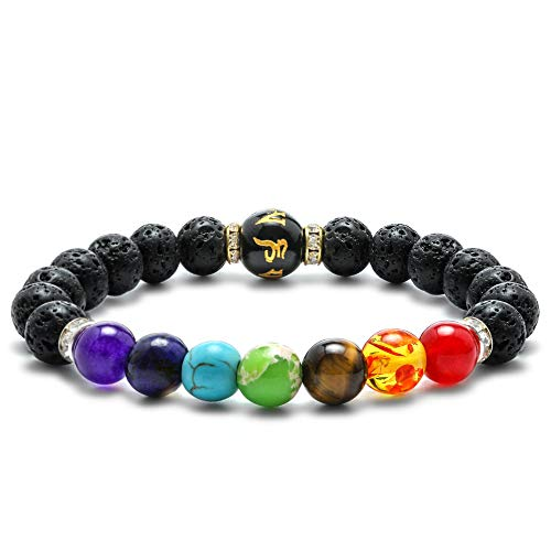 M MOOHAM Lava Rock Chakra Bracelet - 8mm Natural Stone Chakra Bead Lava Rock Bracelet, Men Women Stress Relief Yoga Beads Aromatherapy Essential Oil Diffuser Elastic Bracelet Bangle