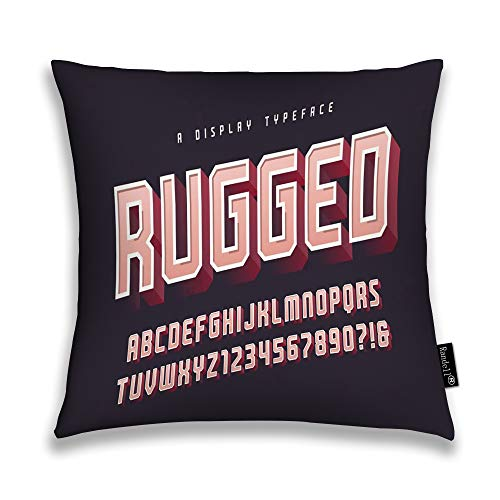 Case Display Randell - Randell Decorative Throw Pillow Case Rugged Stylish Display Typeface Font Uppercase Numbers Alphabet Glo Cushion Cover Square 18 X 18 Inches